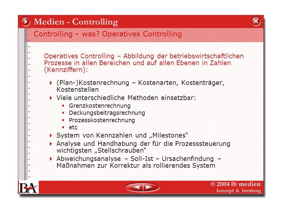 © 2004 lb medien konzept & beratung Medien - Controlling Strategisches Controlling – Positionierung des Verlags und seiner Produkte in umkämpften Märk
