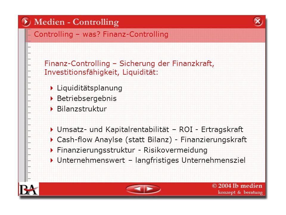 © 2004 lb medien konzept & beratung Medien - Controlling Controlling – was? Strategisch vs. Operativ Strategisches Controlling Operatives Controlling