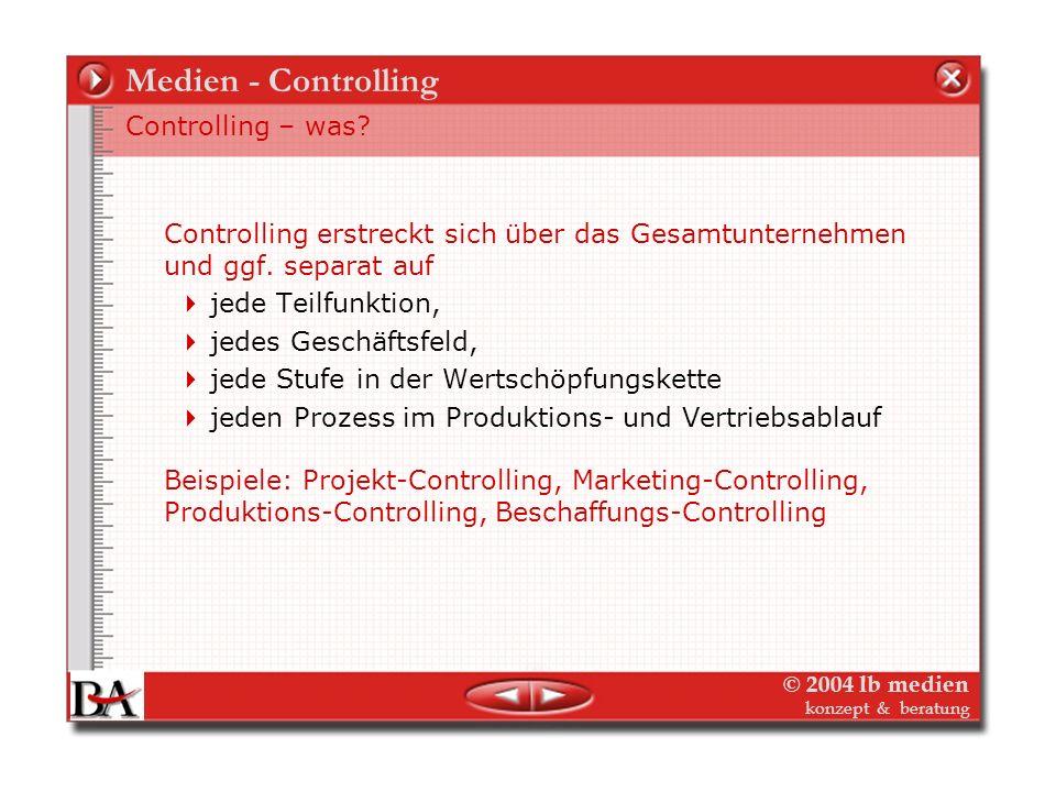 © 2004 lb medien konzept & beratung Medien - Controlling Weitere Planungen für den Gesamtverlag: Programmplanung Investitionsplanung Organisationsentw