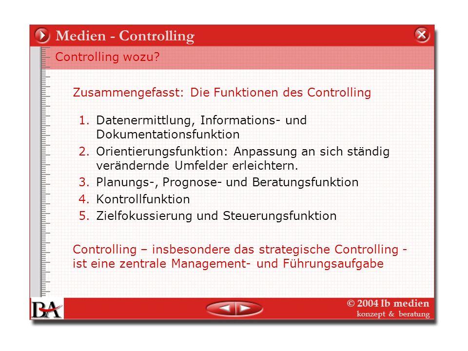 © 2004 lb medien konzept & beratung Medien-Controlling Anforderungen an die Informationsfunktion Controlling 1.Vollständigkeit – Alle wichtigen Inform
