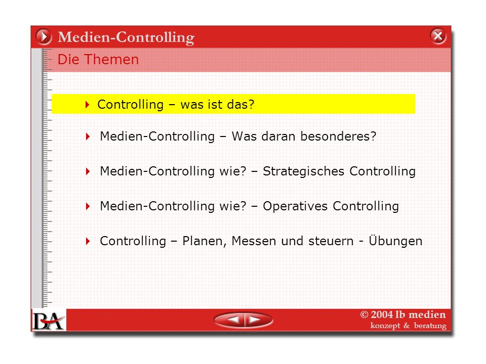 © 2004 lb medien konzept & beratung Medien-Controlling Marketing Controlling Der Marketing-Plan (mittelfristig) Verlag (Image, Marke) jedes einzelne Objekt Der Maßnahmenplan (mittelfristig) Strategische Marketingplanung Kennziffern Maßnahmenplan (Jahresbudget) Operative Marketingplanung Kennziffern
