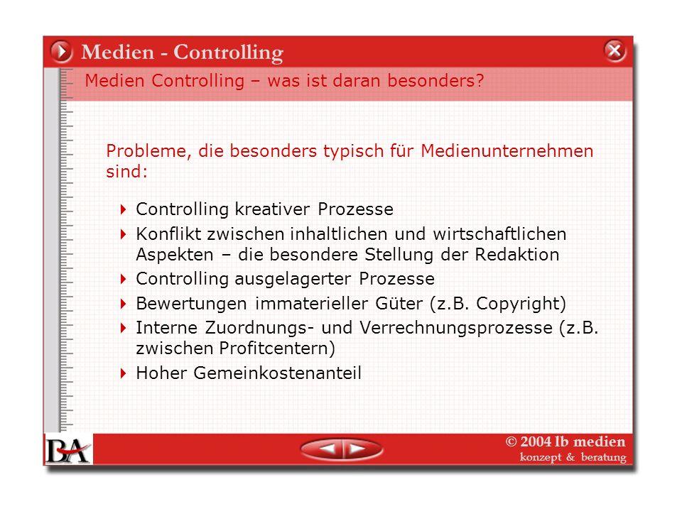 © 2004 lb medien konzept & beratung Medien-Controlling Die Themen Medien-Controlling – was ist das? Medien-Controlling wie? – Strategisches Controllin