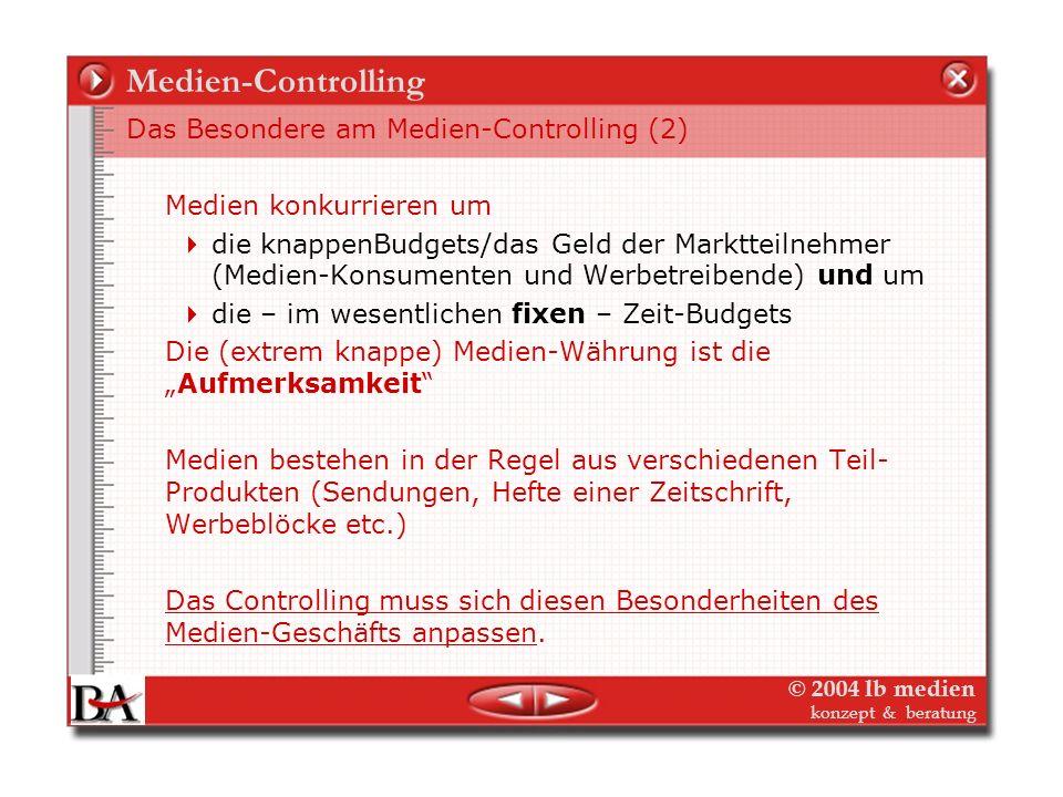 © 2004 lb medien konzept & beratung Medien-Controlling Medien kämpfen in der Regel an drei Fronten/Märkten Nutzer/Leser/Hörer/Zuschauer-Markt Werbemar