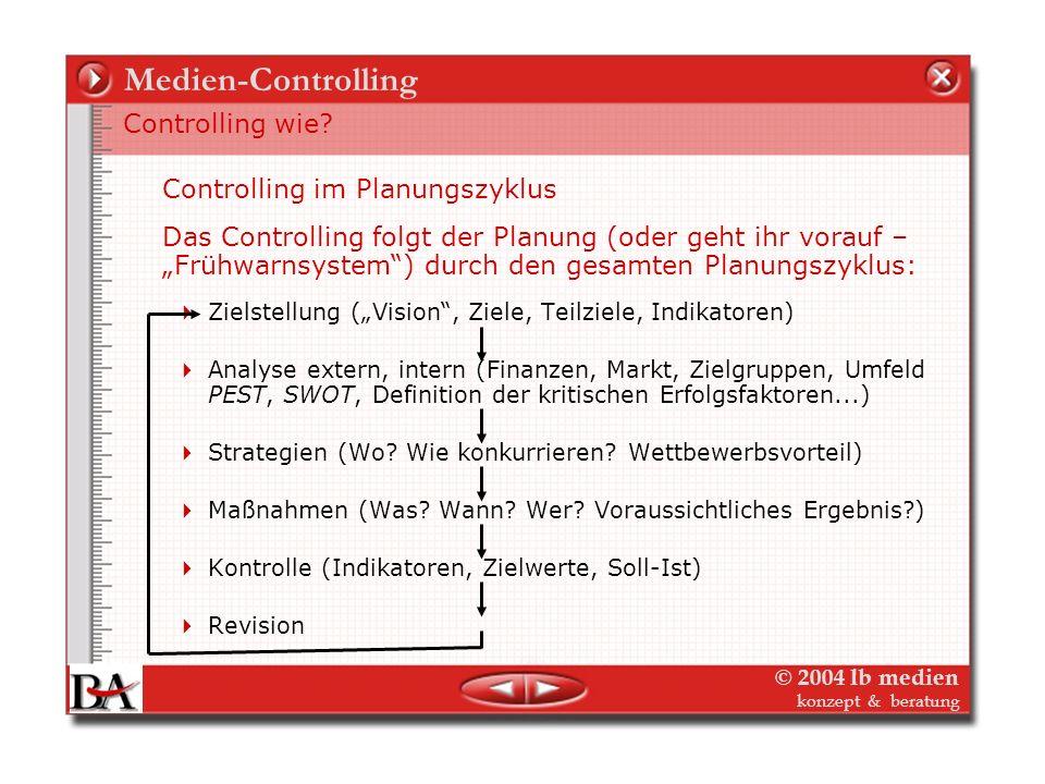 © 2004 lb medien konzept & beratung Medien-Controlling Die unterschiedlichen Informationsinstrumente für die unterschiedlichen Stakeholder im Medienun