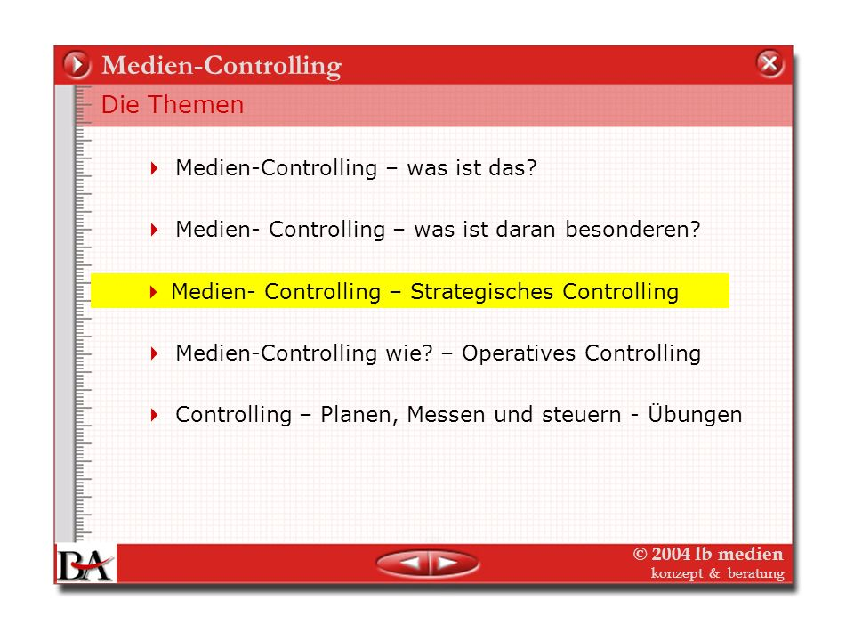 © 2004 lb medien konzept & beratung Medien-Controlling Controlling wie? Controlling im Planungszyklus Das Controlling folgt der Planung (oder geht ihr