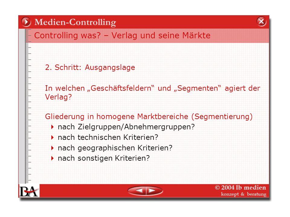 © 2004 lb medien konzept & beratung Medien-Controlling Controlling ist nicht nur Erbsenzählen 1. Schritt: Beginn des Controlling-Prozesses: Formulieru