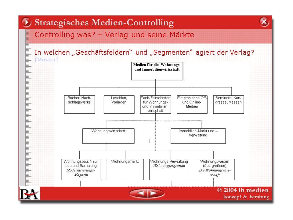 © 2004 lb medien konzept & beratung Medien-Controlling Controlling was? – Verlag und seine Märkte 2. Schritt: Ausgangslage In welchen Geschäftsfeldern