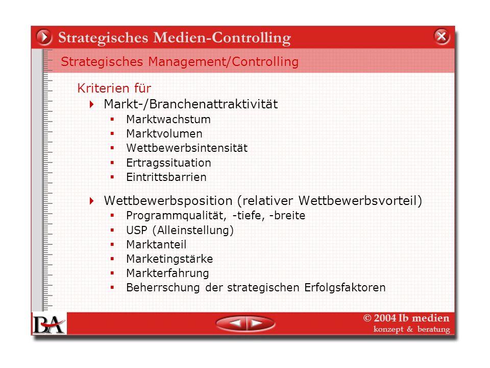 © 2004 lb medien konzept & beratung Strategisches Medien-Controlling 2. Schritt: Das Umfeld, der Markt und wir Lebenszyklus und Portfolio-Analyse – St