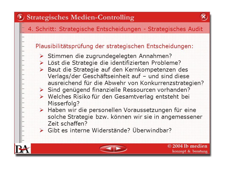© 2004 lb medien konzept & beratung Strategisches Medien-Controlling 4. Schritt: Liste strategischer Entscheidungen (Ableitungen) Geschäftsfeld 1: Pro