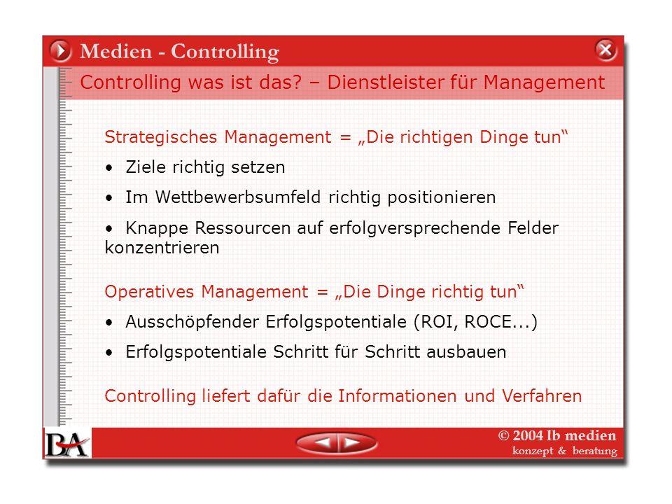© 2004 lb medien konzept & beratung Medien - Controlling Controlling als intelligence für Planung und Management – strategisches und operatives Contro