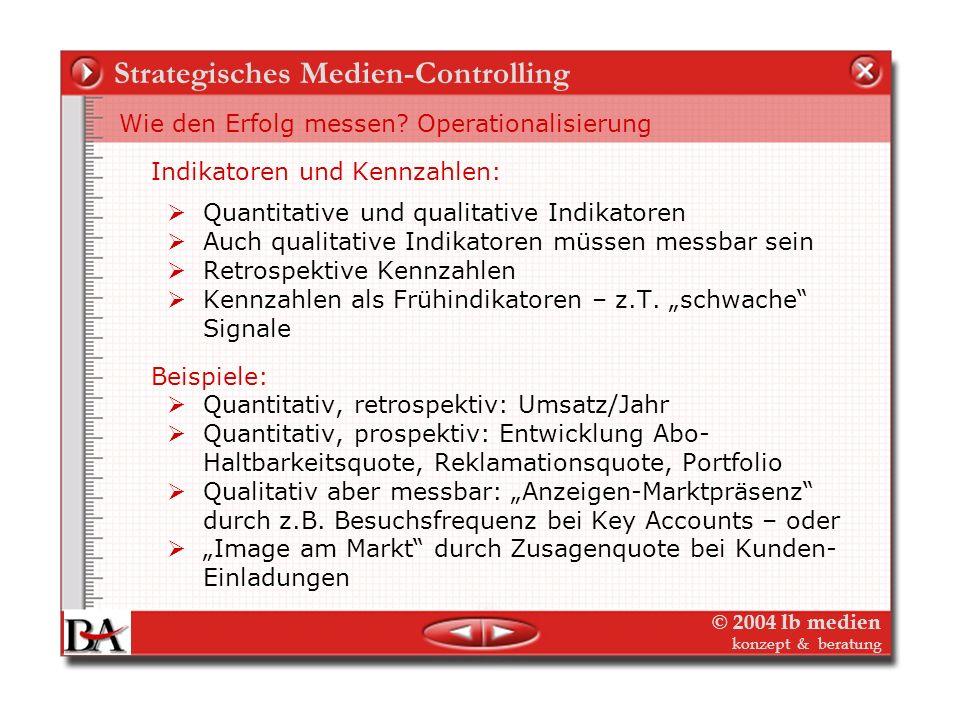 © 2004 lb medien konzept & beratung Strategisches Medien-Controlling 4. Schritt: Strategische Entscheidungen - Strategisches Audit Plausibilitätsprüfu