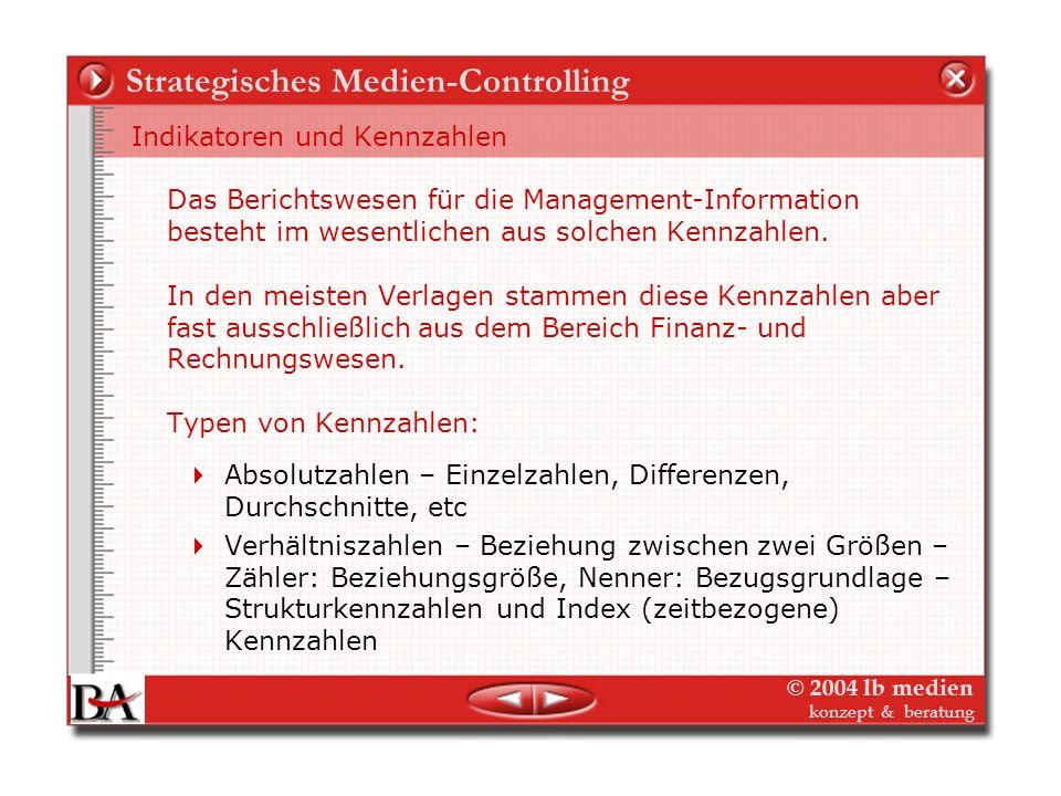 © 2004 lb medien konzept & beratung Strategisches Medien-Controlling Wie den Erfolg messen? Operationalisierung Indikatoren und Kennzahlen: Quantitati