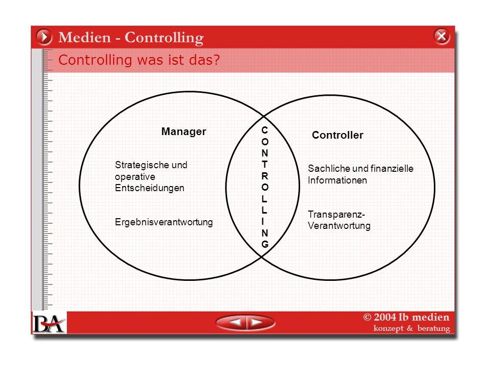 © 2004 lb medien konzept & beratung Medien - Controlling Controlling was ist das? – Dienstleister für Management Strategisches Management = Die richti