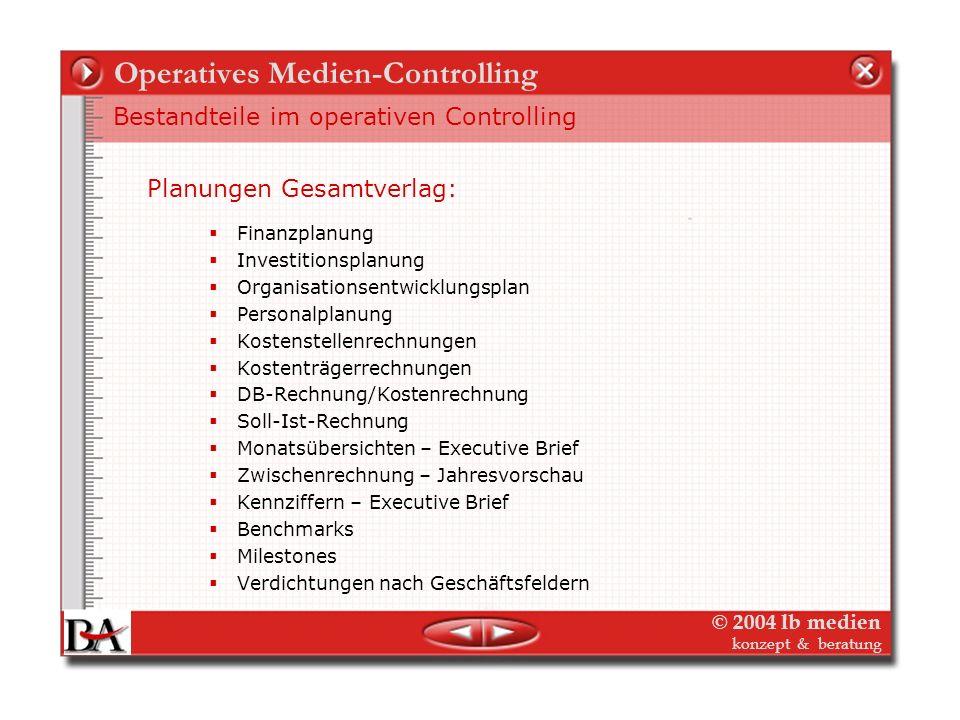 © 2004 lb medien konzept & beratung Operatives Medien-Controlling Bestandteile im operativen Controlling