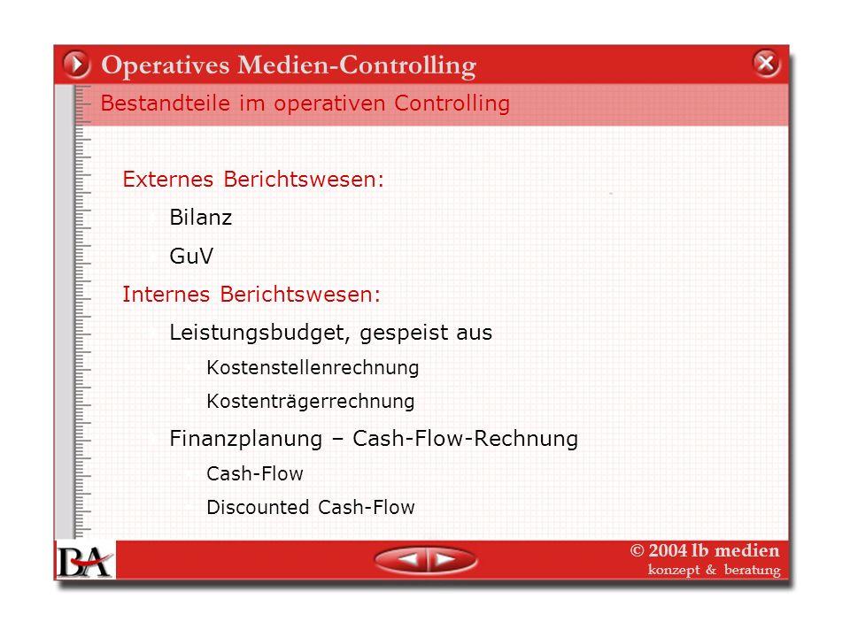© 2004 lb medien konzept & beratung Operatives Medien-Controlling Bestandteile im operativen Controlling Planungen Gesamtverlag: Finanzplanung Investi