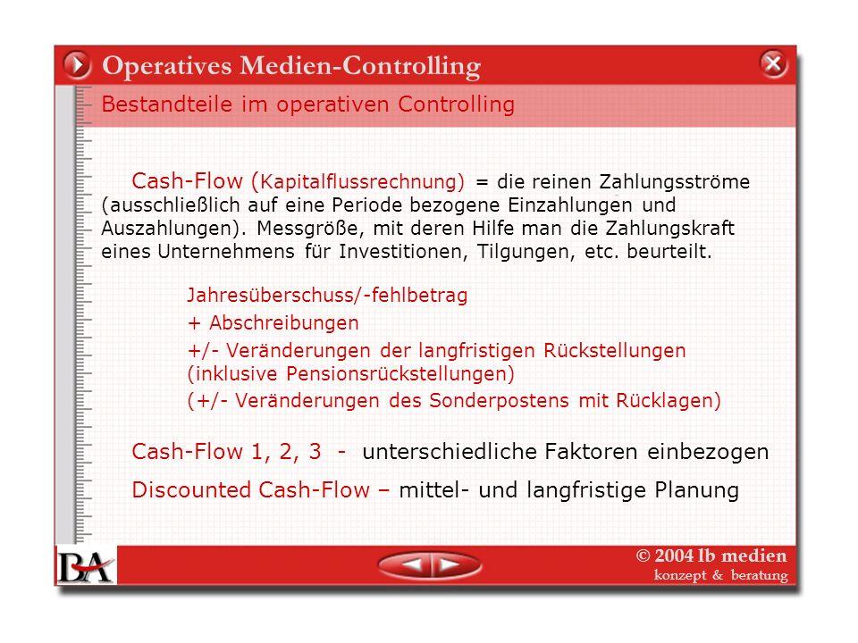 © 2004 lb medien konzept & beratung Operatives Medien-Controlling Bestandteile im operativen Controlling Externes Berichtswesen: Bilanz GuV Internes B