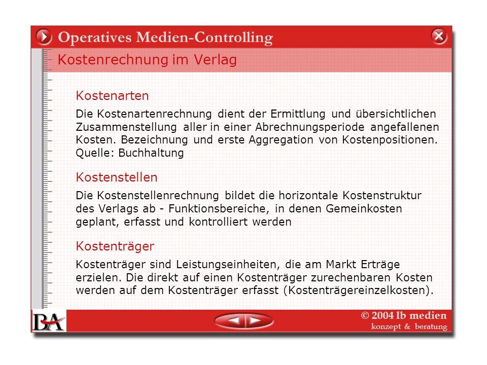 © 2004 lb medien konzept & beratung Operatives Medien-Controlling Kostenrechnung im Verlag Aus der Gegenüberstellung von Kostenrechnung und Erlösrechn