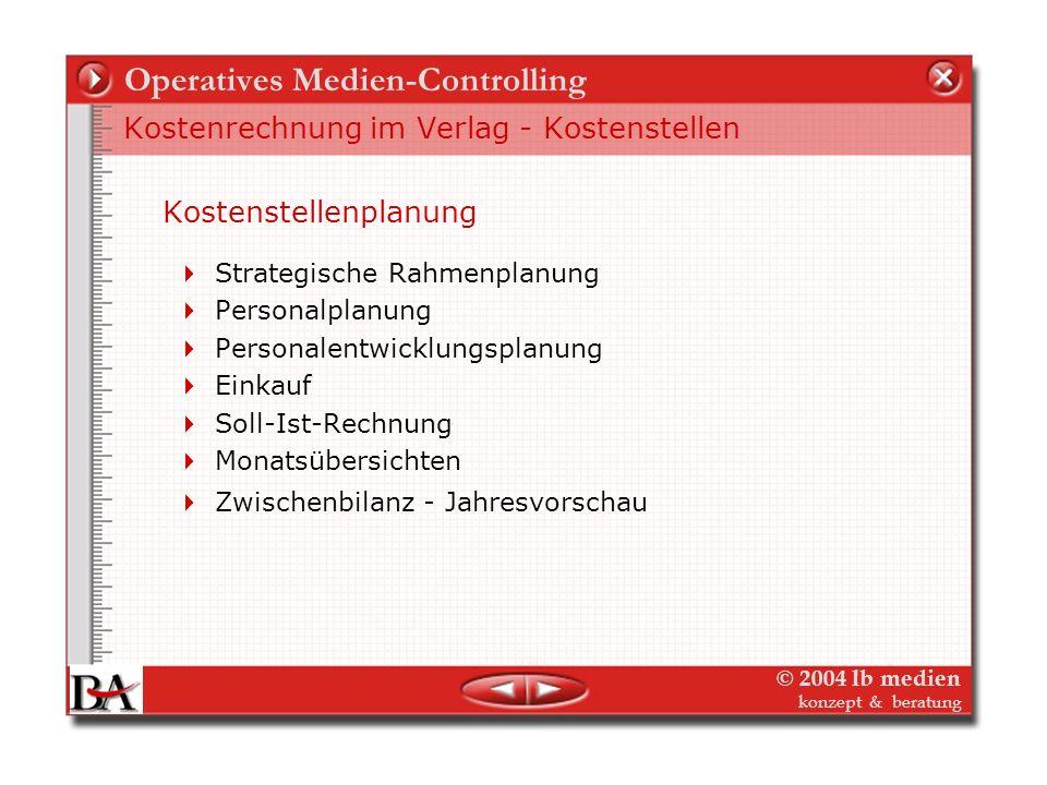 © 2004 lb medien konzept & beratung Operatives Medien-Controlling Kostenrechnung im Verlag Kostenarten Die Kostenartenrechnung dient der Ermittlung un