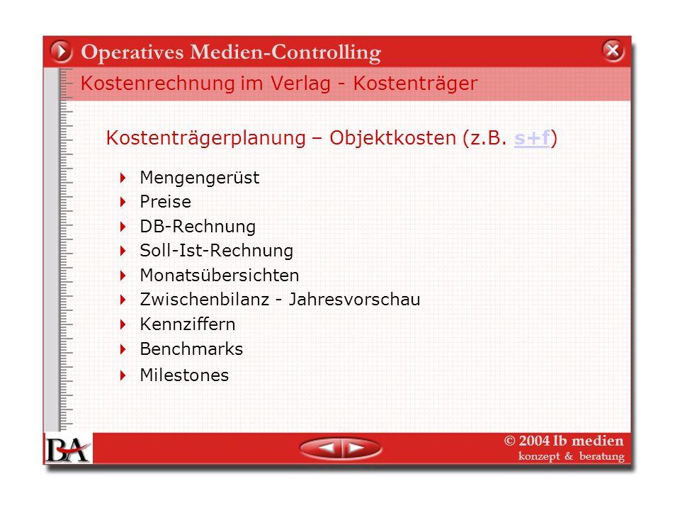 © 2004 lb medien konzept & beratung Operatives Medien-Controlling Kostenrechnung im Verlag - Kostenstellen Kostenstellenplanung Strategische Rahmenpla