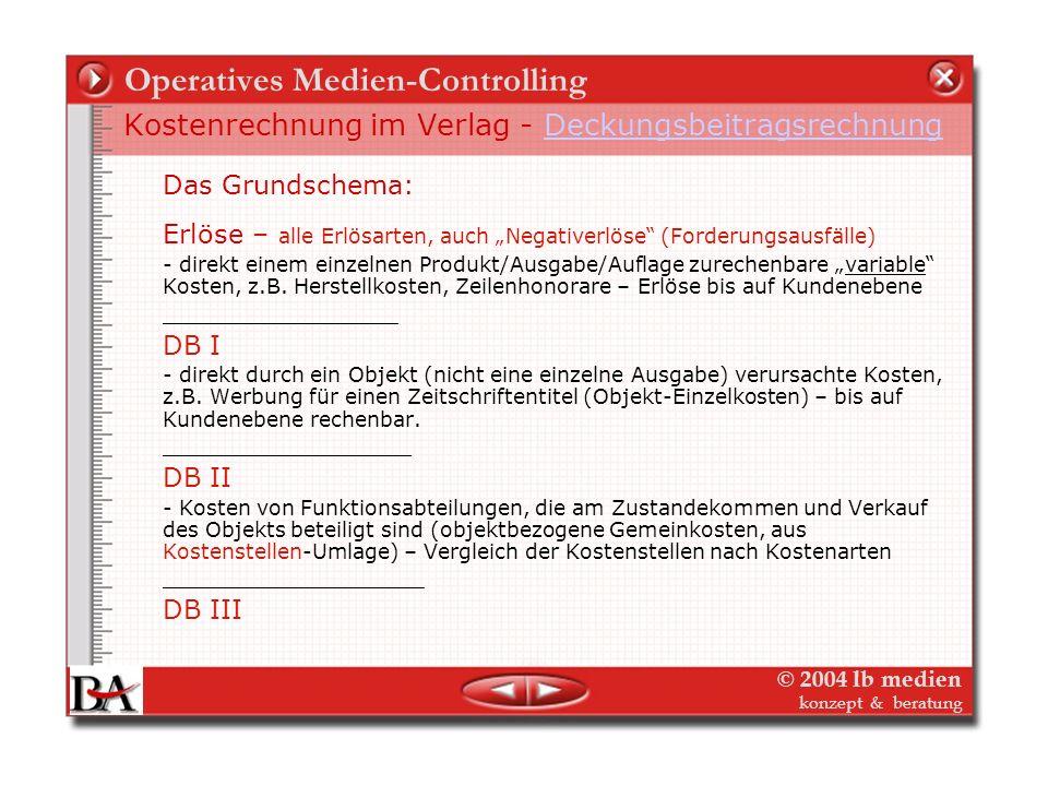 © 2004 lb medien konzept & beratung Operatives Medien-Controlling Kostenrechnung im Verlag - Kostenträger Kostenträgerplanung – Objektkosten (z.B. s+f