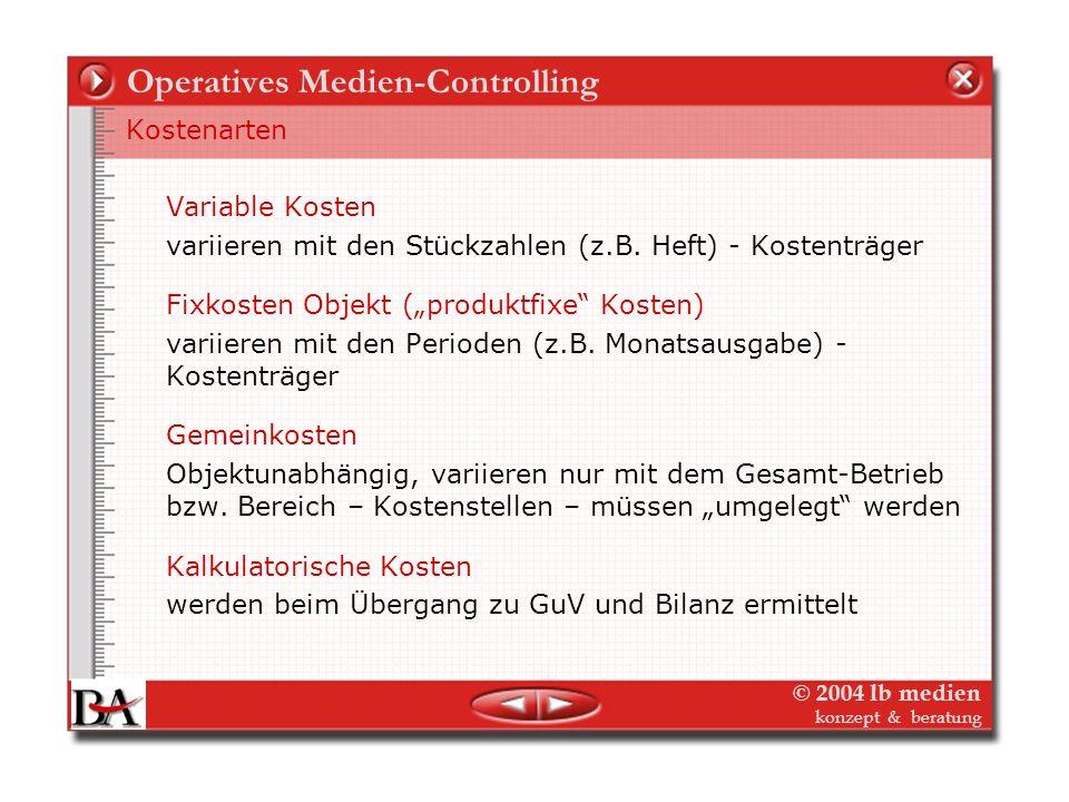© 2004 lb medien konzept & beratung Operatives Medien-Controlling Kostenrechnung im Verlag - DeckungsbeitragsrechnungDeckungsbeitragsrechnung Das Grun