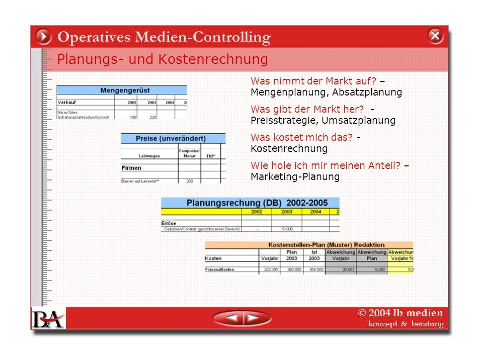 © 2004 lb medien konzept & beratung Operatives Medien-Controlling Kostenarten Variable Kosten variieren mit den Stückzahlen (z.B. Heft) - Kostenträger