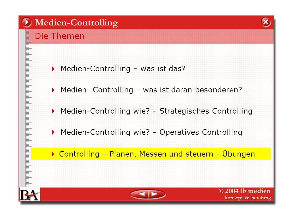 © 2004 lb medien konzept & beratung Operatives Medien-Controlling DB-Rechnung gilt für alle Medien Das Prinzip der Deckungsbeitragsrechnung für Planun