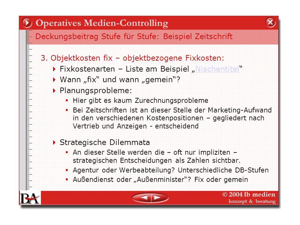 © 2004 lb medien konzept & beratung Operatives Medien-Controlling Deckungsbeitrag Stufe für Stufe: Beispiel Zeitschrift 2. Objektkosten variabel: Obje