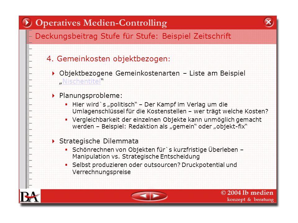 © 2004 lb medien konzept & beratung Operatives Medien-Controlling Deckungsbeitrag Stufe für Stufe: Beispiel Zeitschrift 3. Objektkosten fix – objektbe