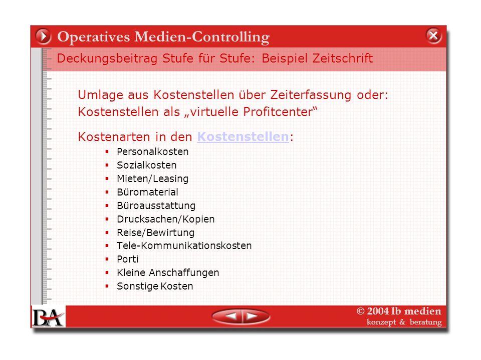 © 2004 lb medien konzept & beratung Operatives Medien-Controlling Deckungsbeitrag Stufe für Stufe: Beispiel Zeitschrift 5. Vollkosten – Overhead oder