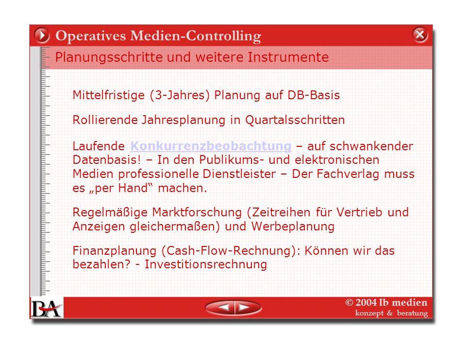 © 2004 lb medien konzept & beratung Operatives Medien-Controlling Deckungsbeitrag Stufe für Stufe: Beispiel Zeitschrift Umlage aus Kostenstellen über