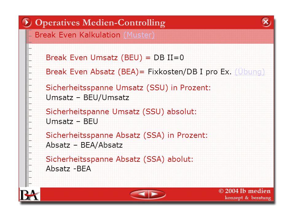© 2004 lb medien konzept & beratung Operatives Medien-Controlling Planung und Kalkulation
