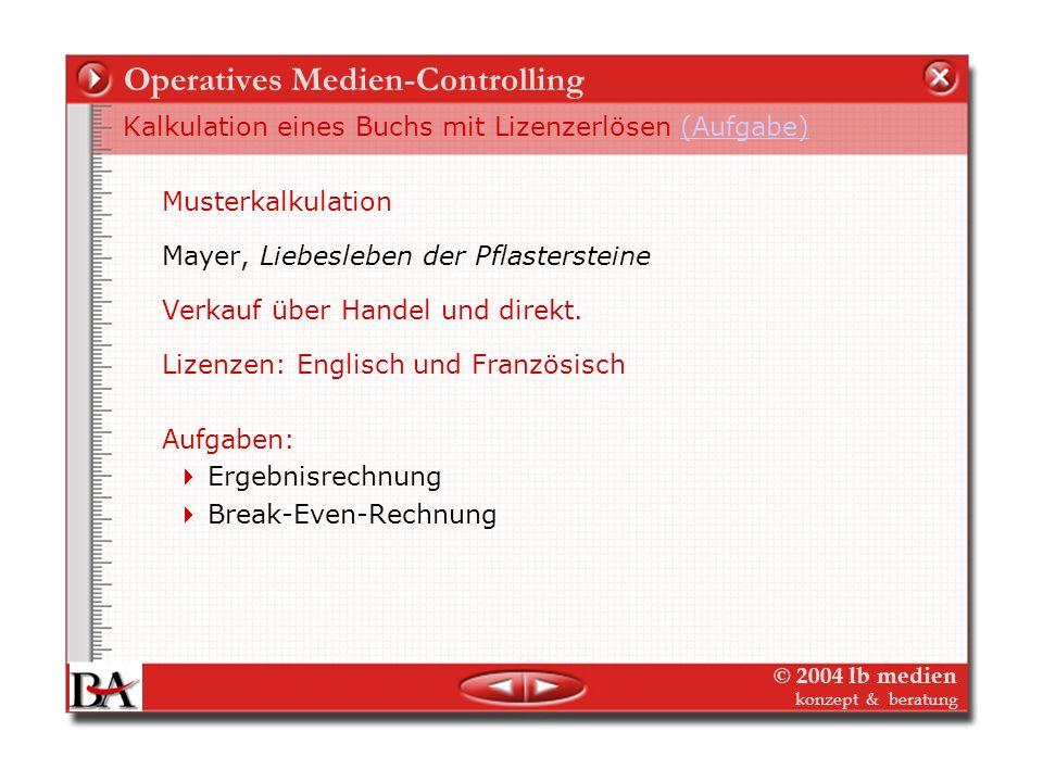 © 2004 lb medien konzept & beratung Operatives Medien-Controlling Planung und Kalkulation Buch- Deckungsauflage Anzahl der Exemplare, die verkauft wer