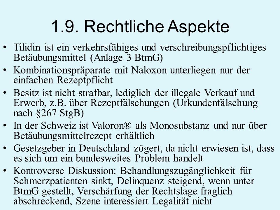 1.9. Rechtliche Aspekte Tilidin ist ein verkehrsfähiges und verschreibungspflichtiges Betäubungsmittel (Anlage 3 BtmG) Kombinationspräparate mit Nalox