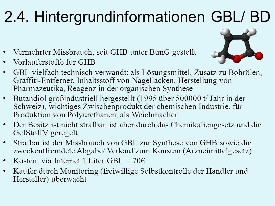 2.4. Hintergrundinformationen GBL/ BD Vermehrter Missbrauch, seit GHB unter BtmG gestellt Vorläuferstoffe für GHB GBL vielfach technisch verwandt: als