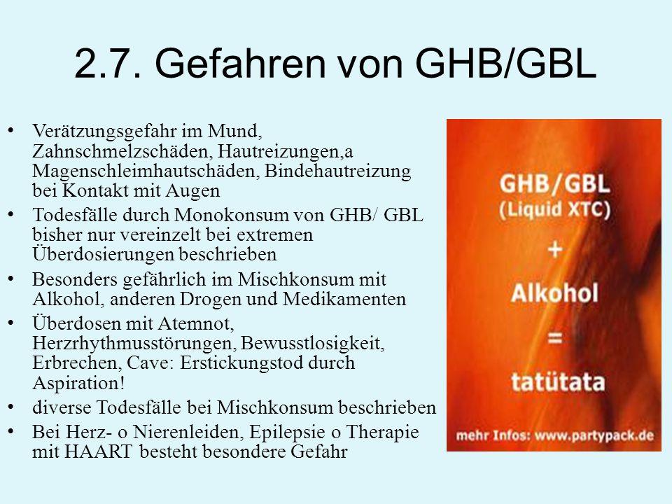 2.7. Gefahren von GHB/GBL Verätzungsgefahr im Mund, Zahnschmelzschäden, Hautreizungen,a Magenschleimhautschäden, Bindehautreizung bei Kontakt mit Auge