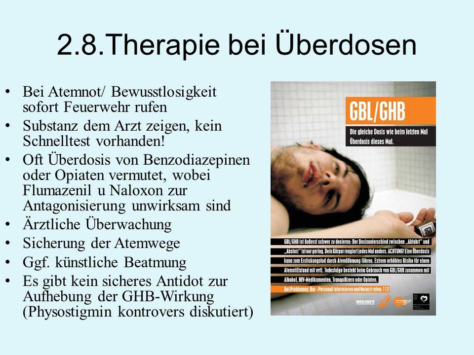 2.8.Therapie bei Überdosen Bei Atemnot/ Bewusstlosigkeit sofort Feuerwehr rufen Substanz dem Arzt zeigen, kein Schnelltest vorhanden! Oft Überdosis vo