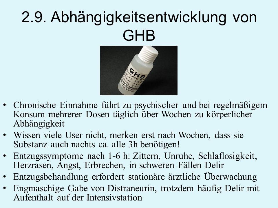 2.9. Abhängigkeitsentwicklung von GHB Chronische Einnahme führt zu psychischer und bei regelmäßigem Konsum mehrerer Dosen täglich über Wochen zu körpe