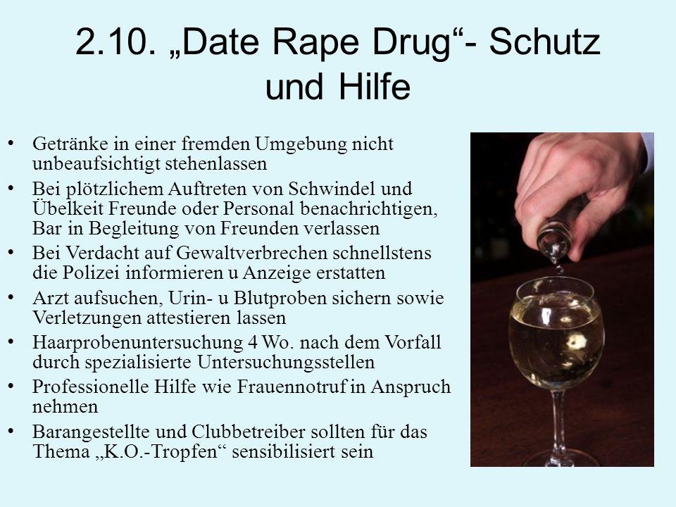 2.10. Date Rape Drug- Schutz und Hilfe Getränke in einer fremden Umgebung nicht unbeaufsichtigt stehenlassen Bei plötzlichem Auftreten von Schwindel u