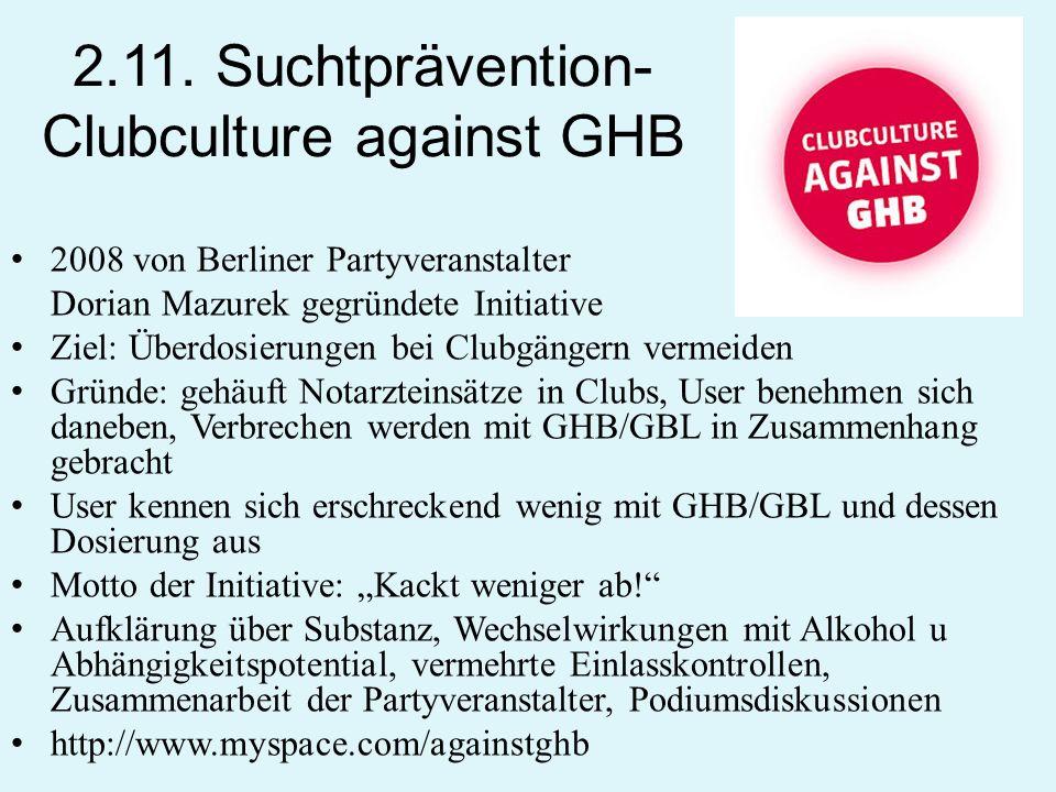 2.11. Suchtprävention- Clubculture against GHB 2008 von Berliner Partyveranstalter Dorian Mazurek gegründete Initiative Ziel: Überdosierungen bei Club