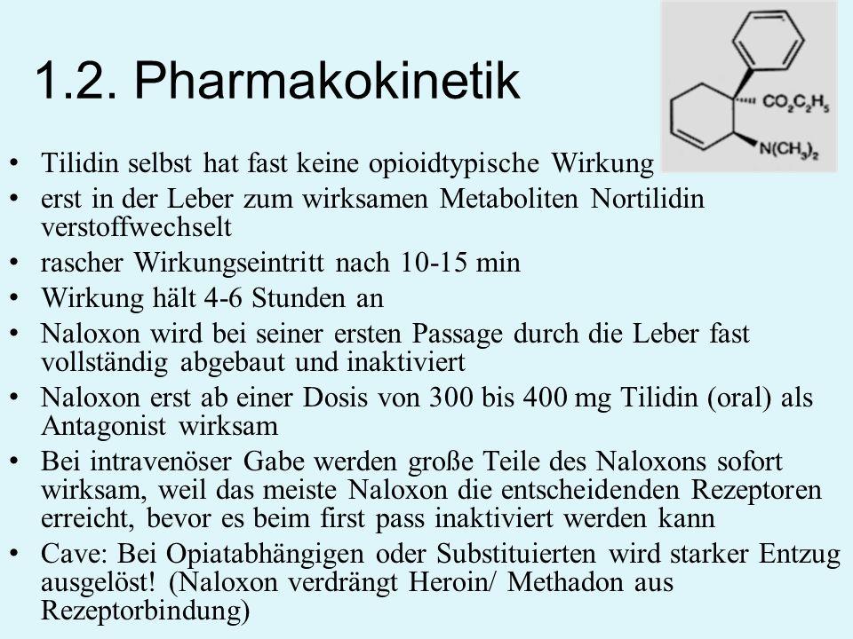 1.2. Pharmakokinetik Tilidin selbst hat fast keine opioidtypische Wirkung erst in der Leber zum wirksamen Metaboliten Nortilidin verstoffwechselt rasc