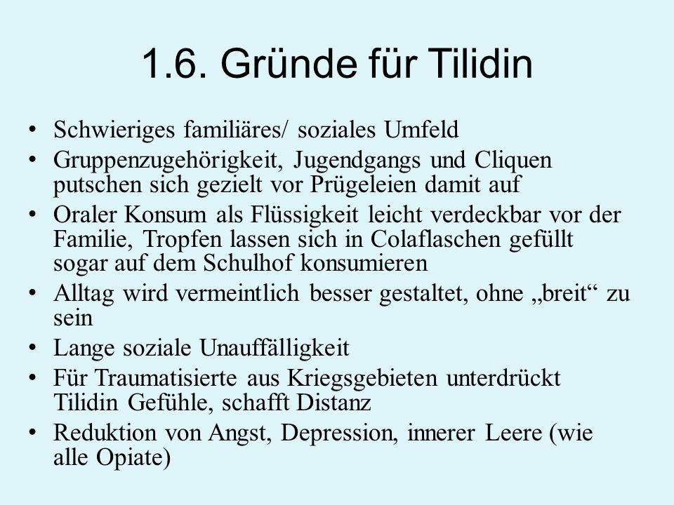 1.6. Gründe für Tilidin Schwieriges familiäres/ soziales Umfeld Gruppenzugehörigkeit, Jugendgangs und Cliquen putschen sich gezielt vor Prügeleien dam