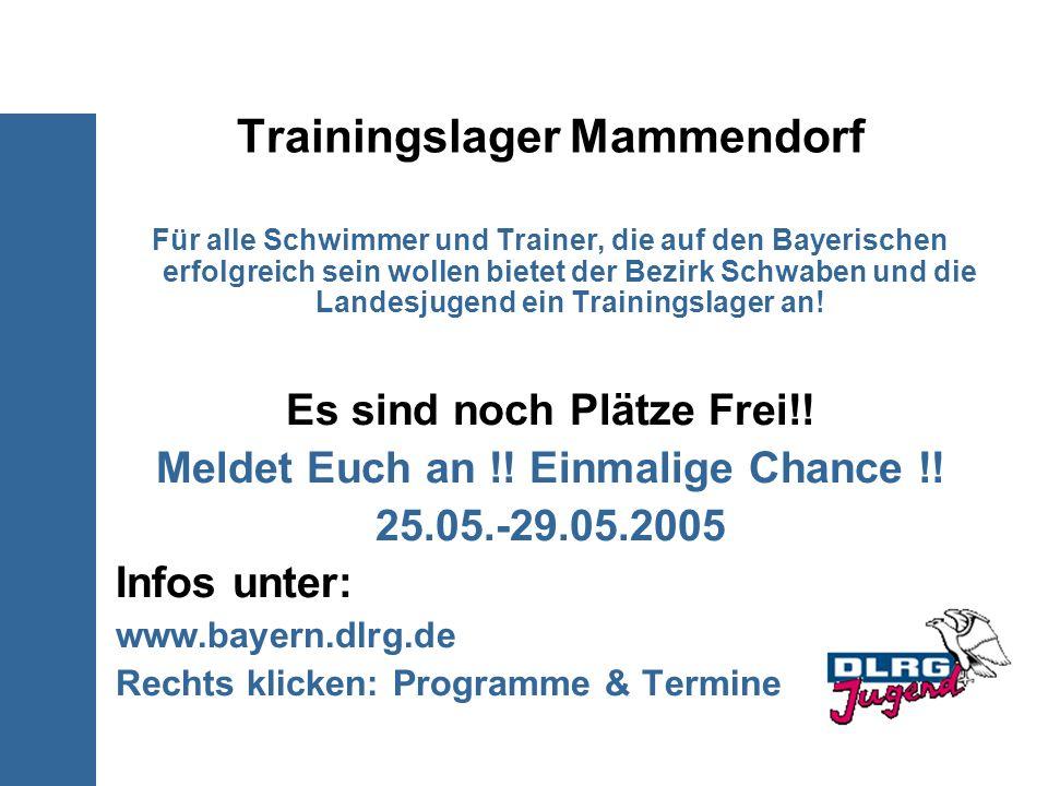Trainingslager Mammendorf Für alle Schwimmer und Trainer, die auf den Bayerischen erfolgreich sein wollen bietet der Bezirk Schwaben und die Landesjug