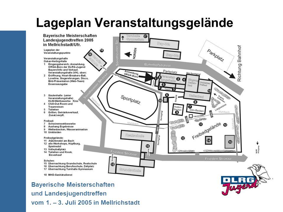 Lageplan Veranstaltungsgelände Bayerische Meisterschaften und Landesjugendtreffen vom 1. – 3. Juli 2005 in Mellrichstadt