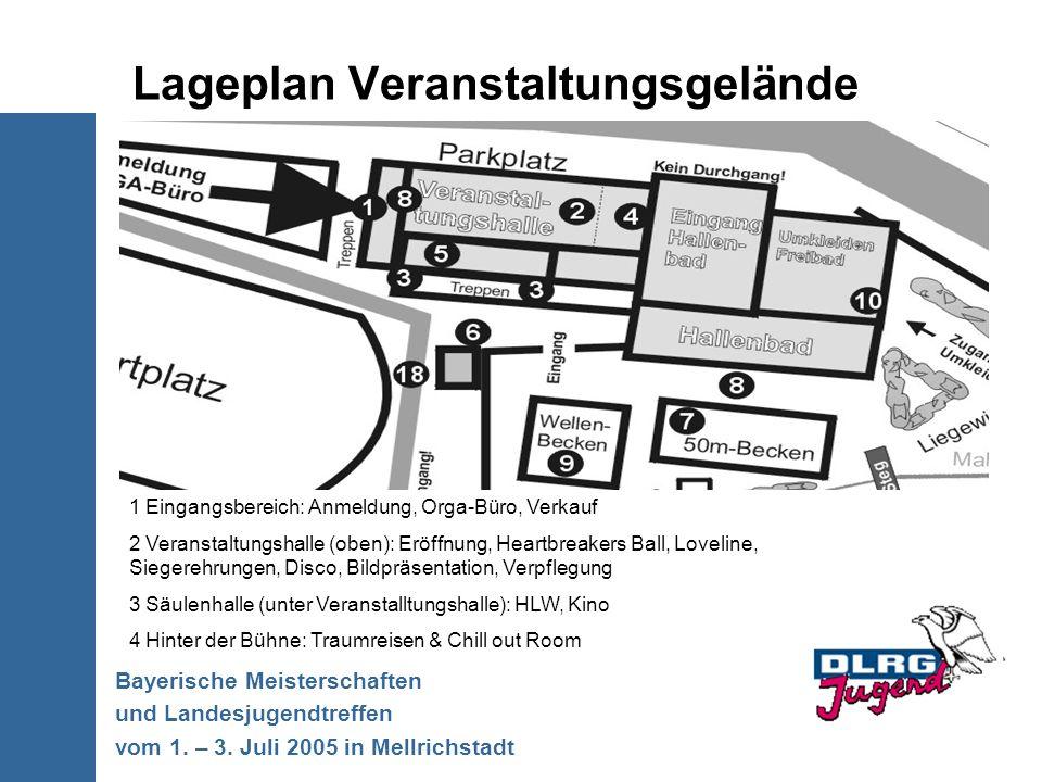 Lageplan Veranstaltungsgelände Bayerische Meisterschaften und Landesjugendtreffen vom 1. – 3. Juli 2005 in Mellrichstadt 1 Eingangsbereich: Anmeldung,
