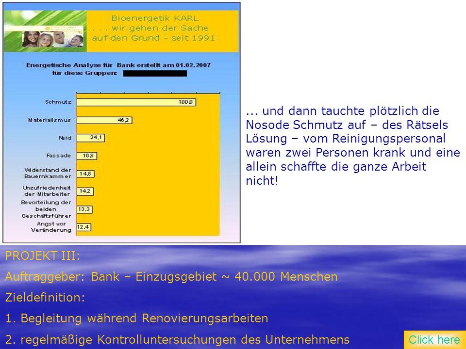 PROJEKT III: Auftraggeber: Bank – Einzugsgebiet ~ 40.000 Menschen Zieldefinition: 1.