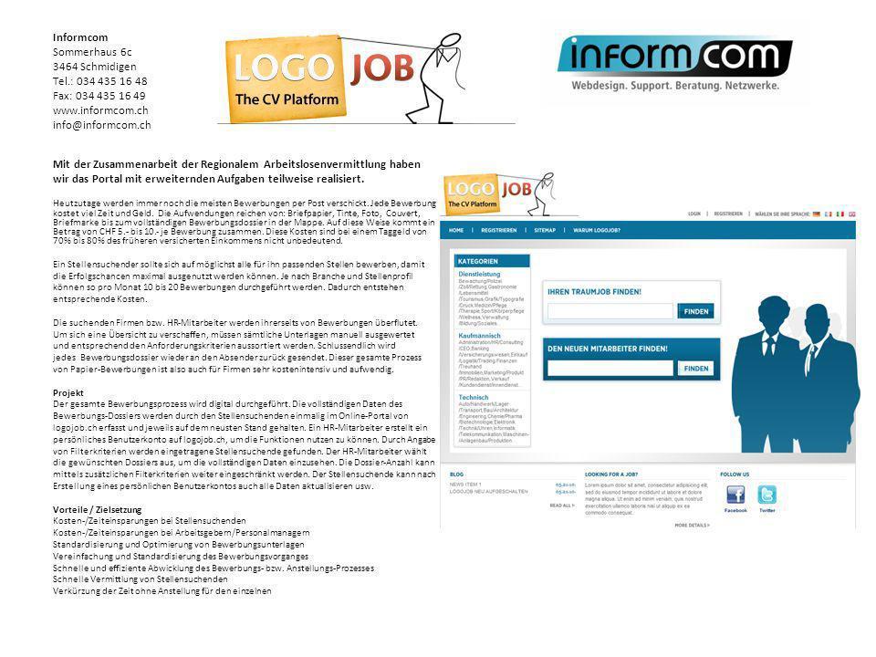 Mit der Zusammenarbeit der Regionalem Arbeitslosenvermittlung haben wir das Portal mit erweiternden Aufgaben teilweise realisiert. Heutzutage werden i