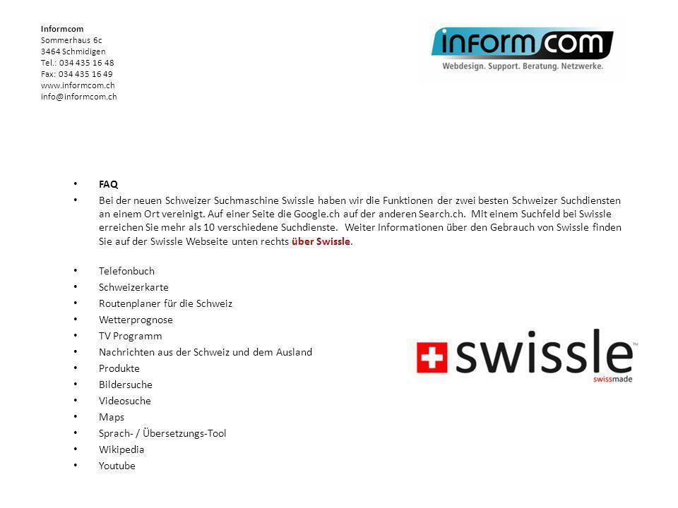 FAQ Bei der neuen Schweizer Suchmaschine Swissle haben wir die Funktionen der zwei besten Schweizer Suchdiensten an einem Ort vereinigt. Auf einer Sei
