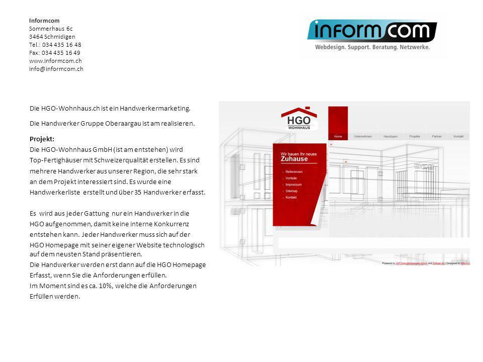 Die HGO-Wohnhaus.ch ist ein Handwerkermarketing. Die Handwerker Gruppe Oberaargau ist am realisieren. Projekt: Die HGO-Wohnhaus GmbH (ist am entstehen