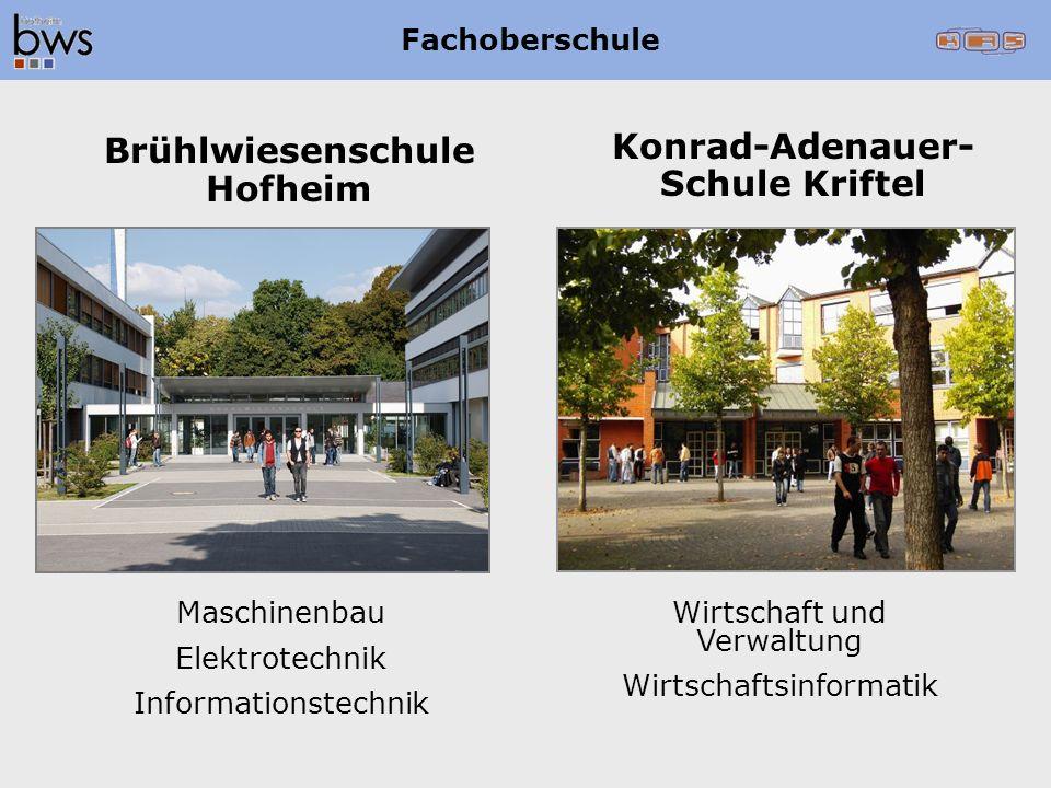Maschinenbau Elektrotechnik Informationstechnik Brühlwiesenschule Hofheim Konrad-Adenauer- Schule Kriftel Wirtschaft und Verwaltung Wirtschaftsinforma